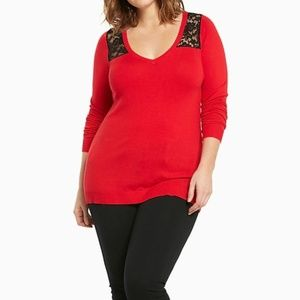 TORRID 1X SWEATER Red Black Lace V-Neck Tunic NWT